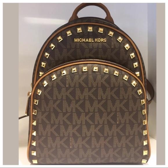 75b1dd9c5dc5 Michael Kors Bags | Nwt Mk Abbey Medium Studded Backpack Brown ...